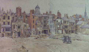 Water colour of the backs of houses nos 35-47 Broad Street