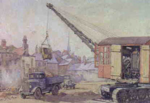 Water colour of lorries and a mechanical digger