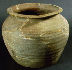 A rounded wheel-thrown jar or waster