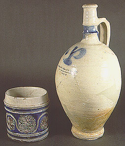 Westerwald Stoneware made from secondary clay associated with Coal Measures (fireclay)